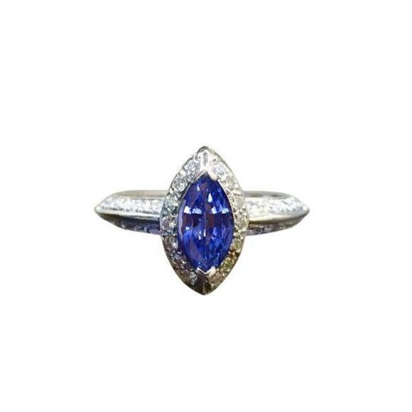 Jewelry - SRI LANKA BLUE SAPPHIRE round diamond Marquise cut